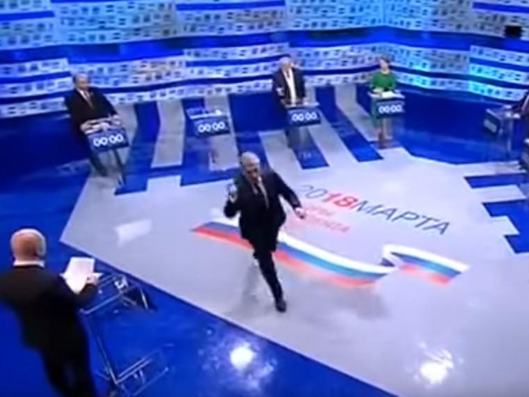 Грудинин ушел сдебатов прямо вовремя эфира на«Первом канале»