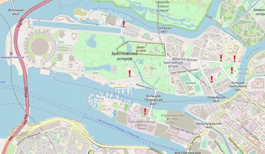 КПП, через которые можно попасть на Крестовский остров