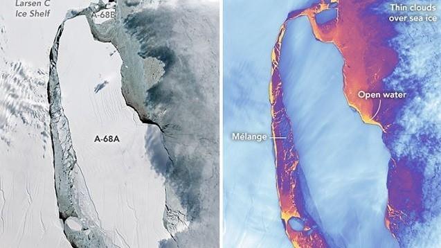NASAопубликовало снимки айсберга размером сМосковскую область