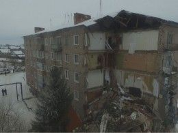 Опубликовано видео сместа обрушения частидома вИвановской области,снятое сбеспилотника