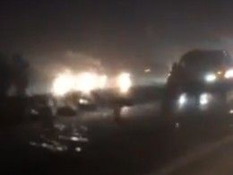 Появилось видео сместа массового ДТП— под Майкопом столкнулись около20машин