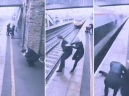 Камера сняла, как девушка удержаласамоубийцу замгновениедопрыжка под поезд