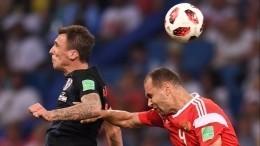 Первый тайм матча Россия— Хорватии врамках ¼за финала ЧМзакончился вничью