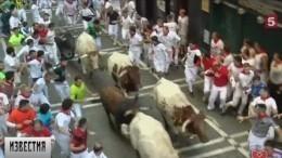 Вовремя кровавого забега быков вИспании пострадали люди