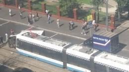 ВМоскве трамвай «смял» «Газель»— фото сместа ДТП