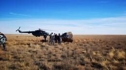 Первое видео сместа приземления капсулы сэкипажем «Союз МС-10» вКазахстане