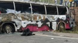 Смертельное ДТП вГане: Столкнулись два автобуса, 70 человек погибло— видео
