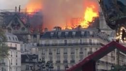Полыхающий Собор Парижской Богоматери сняли свысоты птичьего полета