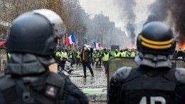 Видео: «Желтые жилеты» закидывают полицейских экскрементами, самокатами икирпичами
