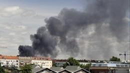 Видео: Вьетнамский рынок горит вБерлине, дым виден занесколько километров