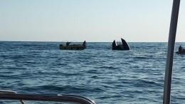 Эксклюзивное видео сместа трагедии вЧерном море, где опрокинулся катер