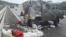 Жуткое видео: грузовик въехал вдорожных рабочих натрассе Уфа— Оренбург