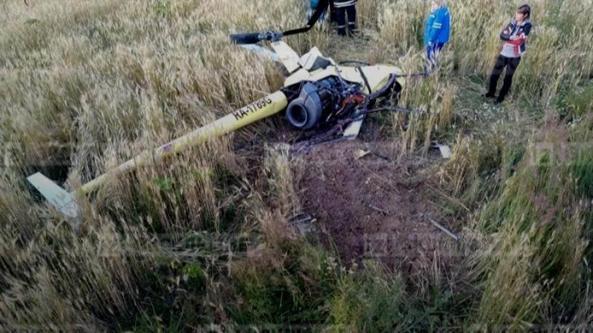 Вертолет совершил жесткую посадку вПодмосковье, два человека погибли