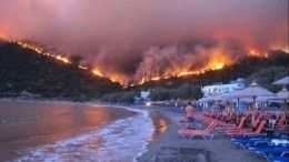 ВГреции туристов изпяти гостиниц эвакуировали из-за лесных пожаров— видео