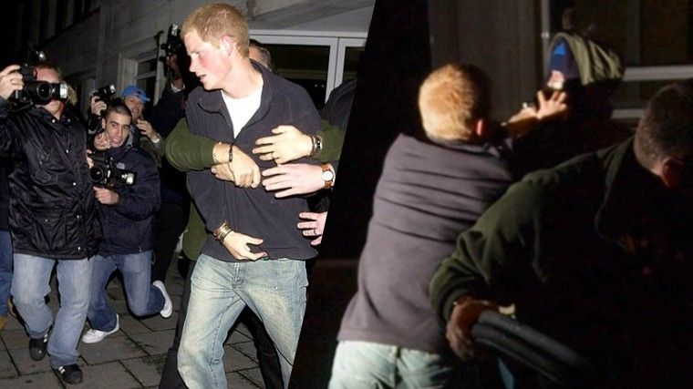 Принц Гарри во время драки с фотографом Крисом Анклом в 2004 году