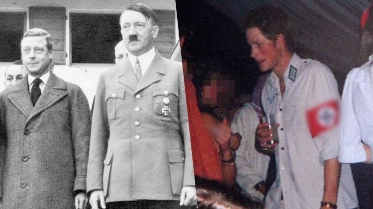 Слева направо: Эдуард VIII и Адольф Гитлер, принц Гарри