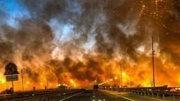 Сплошная стена огня: ландшафтный пожар угрожает Ростову-на-Дону