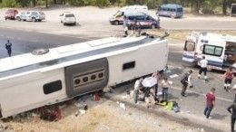 Автобус сроссийскими туристами перевернулся втурецкой Анталье— фото