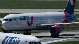 Эвакуацию пассажиров изBoeing 767 сзагоревшейся стойкой шасси сняли навидео