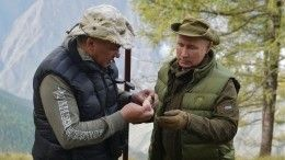 «Мывыше облаков»: Путин иШойгу отдохнули всибирской тайге