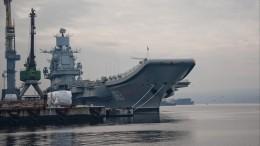 Коптер снял пожар наавианесущем крейсере «Адмирал Кузнецов»— видео