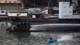 Появились фотографии затонувшего вСевастополе дока сподлодкой