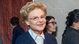 Елена Малышева провела передачу вплатье ссобственным портретом