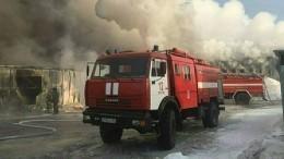 Видео сместа серьезного пожара вторговом комплексе под Новосибирском