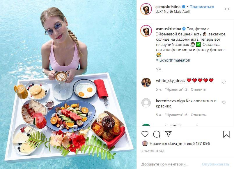 «Аппетитно икрасиво»: Асмус вкупальнике подали шикарный завтрак прямо вбассейн