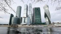 Вбашне Москва-сити произошло обрушение части стеклянной наружной стены
