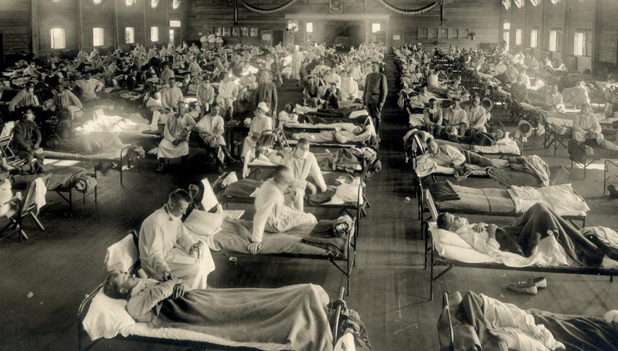 Станция скорой помощи во время эпидемии испанского гриппа в штате Канзас, США, 1918 год