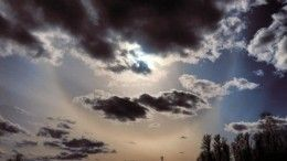 Солнце «самоизолировалось»: очевидцы публикуют фото гало внебе над Петербургом