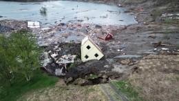 Видео: огромный оползень вНорвегии «утащил» несколько домов вморе