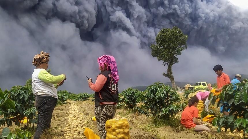 Видео: вулкан вИндонезии выбросил столб пепла высотой пять километров