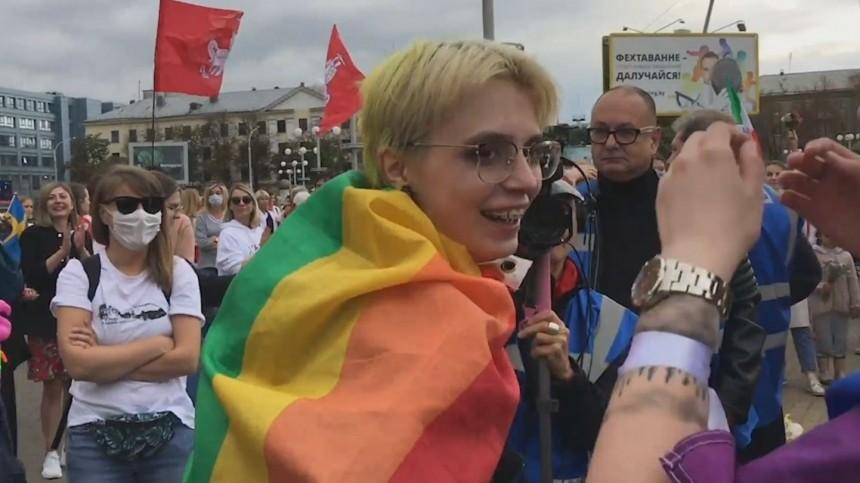Дочь Михаила Ефремова посетила митинг вМинске с«радужным» флагом