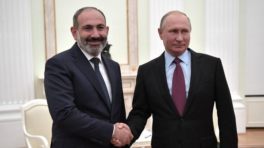 Путин иПашинян обсудили ситуацию вНагорном Карабахе