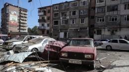 Видео последствий авиаудара постолице Нагорного Карабаха