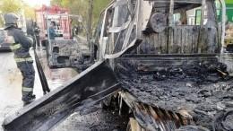 Момент взрыва газового баллона внутри грузовика вХабаровске попал навидео