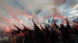 Националисты вышли намарш вКиеве— видео