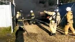 Видео: мощный пожар охватил лакокрасочный завод вЛенобласти