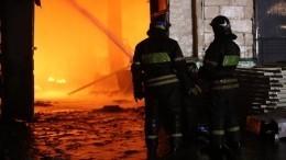 Видео мощного пожара наплощади 1,5 тысячи квадратных метров вПодмосковье