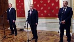 ВМоскве поинициативе Путина прошли переговоры лидеров РФ, Армении иАзербайджана