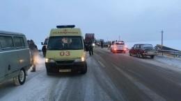 Школьный автобус под Калугой влетел встоящую натрассе фуру— видео