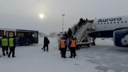 Видео сместа аварийной посадки самолета изХабаровска вЮжно-Сахалинске