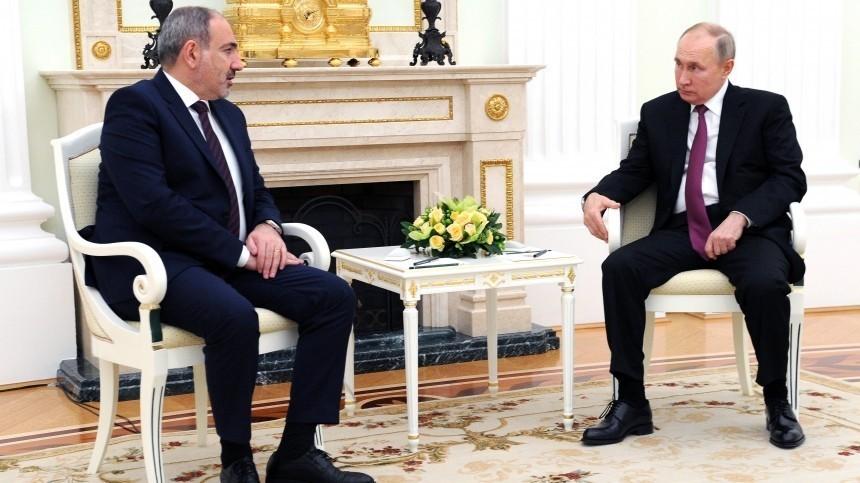 Путин иПашинян обсудили ситуацию вАрмении