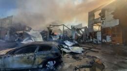 Видео: автосервис и22 автомобиля горят вдеревне под Москвой