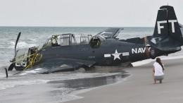 Торпедоносец времен Второй мировой неожиданно приземлился напляже
