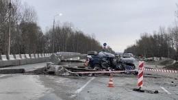 «Головы оторваны»: Lexus влетел вбетонные ограждения натрассе вХакасии (18+)