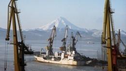 Огромный портовый кран рухнул накорабли вПетропавловске-Камчатском