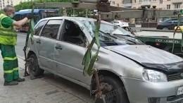 Жуткие последствия ДТП свлетевшим востановку авто наКутузовском проспекте